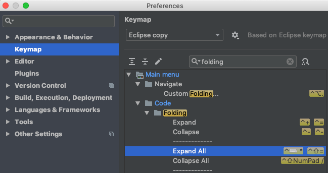 Preferences > keymap